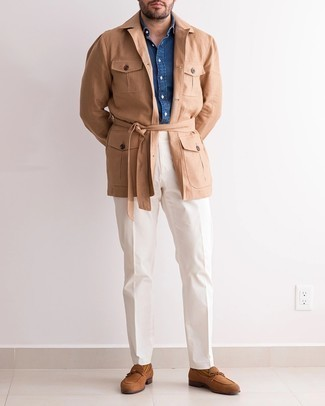 Navy Chambray Long Sleeve Shirt Outfits For Men: A navy chambray long sleeve shirt and white chinos married together are a match made in heaven. On the fence about how to finish your look? Wear a pair of brown suede loafers to kick it up a notch.