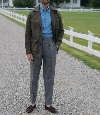Light Blue Long Sleeve Shirt Outfits For Men: This classy pairing of a light blue long sleeve shirt and charcoal dress pants is a favored choice among the dapper men. Dark brown suede tassel loafers look wonderful here.