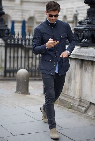 Charcoal Jeans Outfits For Men: Make a navy field jacket and charcoal jeans your outfit choice to achieve a cool and casual outfit. For a more sophisticated vibe, why not introduce a pair of grey suede chelsea boots to your look?