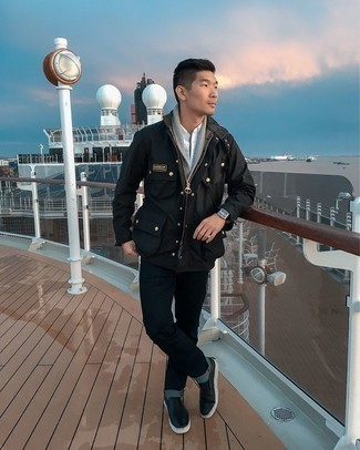 Black Jeans Spring Outfits For Men: Pair a black field jacket with black jeans for a casual look with a contemporary spin. Complement your outfit with a pair of black leather slip-on sneakers and the whole ensemble will come together. This ensemble is super functional and will help you out in in-between weather.