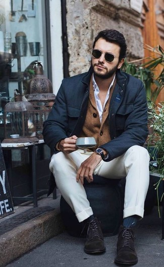 How to wear: black field jacket, brown shawl cardigan, white dress shirt, white dress pants