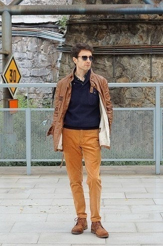 How to Wear a Shawl-Neck Sweater: A shawl-neck sweater and tobacco corduroy chinos will add classy style to your current arsenal. When not sure as to the footwear, stick to a pair of brown leather casual boots.