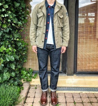 Brown Leather Casual Boots Outfits For Men: You'll be surprised at how super easy it is for any man to get dressed this way. Just a navy vertical striped shirt jacket teamed with navy jeans. If you wish to easily kick up this look with footwear, why not make brown leather casual boots your footwear choice?