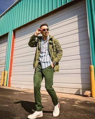 Green Pants Outfits For Men: Super dapper and practical, this relaxed combo of an olive field jacket and green pants provides with endless styling opportunities. For something more on the smart side to complete your outfit, complete your getup with white print canvas high top sneakers.