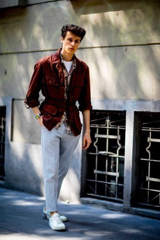 White and Red Leather Low Top Sneakers Outfits For Men: Team a burgundy field jacket with grey chinos for a comfy ensemble that's also pulled together. Ramp up your whole outfit with white and red leather low top sneakers.