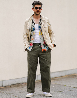 How to wear: beige field jacket, olive floral short sleeve shirt, white tank, olive chinos