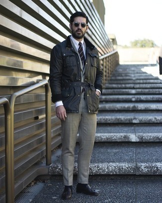 Black Field Jacket Outfits: For an outfit that's worthy of a modern stylish gent and casually neat, consider wearing a black field jacket and a grey plaid suit. Jazz up this look with a smarter kind of footwear, like this pair of dark brown leather tassel loafers.