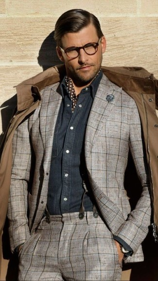 How to wear: brown field jacket, grey plaid suit, navy chambray long sleeve shirt, dark brown polka dot silk scarf