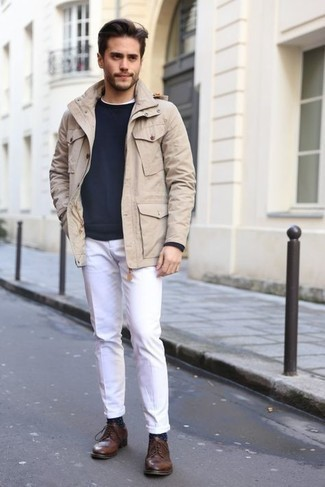 Dark Brown Leather Derby Shoes Outfits: The ultimate foundation for kick-ass relaxed style for men? A beige field jacket with white chinos. Complete your look with dark brown leather derby shoes to instantly change up the look.