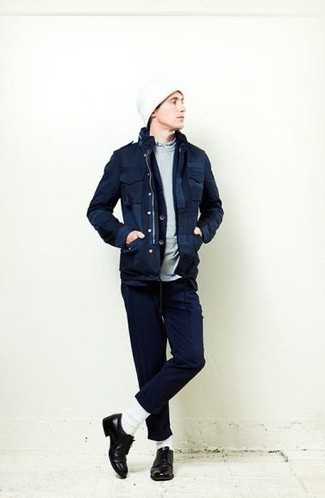 Navy Field Jacket Outfits: Choose a navy field jacket and navy chinos for neat menswear style. Breathe a sense of elegance into this getup by sporting a pair of black leather derby shoes.