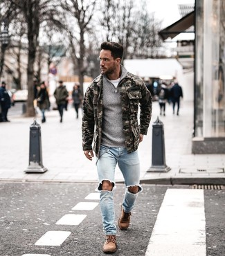 How to Wear Tan Suede Casual Boots For Men: This casual combo of an olive camouflage field jacket and light blue ripped skinny jeans is a solid bet when you need to look stylish in a flash. On the fence about how to round off this outfit? Wear tan suede casual boots to step up the fashion factor.