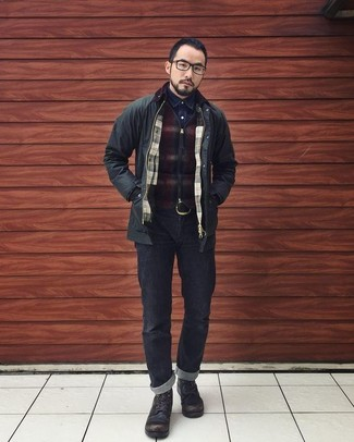 How to wear: black field jacket, burgundy check zip sweater, navy denim shirt, black jeans