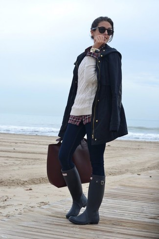 How to wear: navy fishtail parka, white cable sweater, burgundy plaid dress shirt, navy skinny jeans