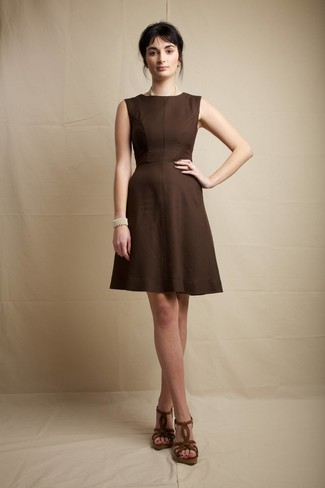 d4ca9102b02ae ... Women s Dark Brown Fit and Flare Dress