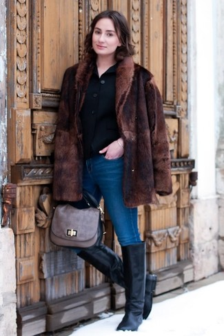 How to wear: dark brown fur coat, black wool blazer, blue skinny jeans, black leather knee high boots