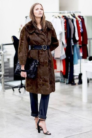 How to wear: dark brown fur coat, navy boyfriend jeans, black leather heeled sandals, black leather clutch