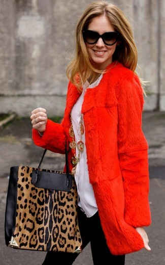 How to wear: red fur coat, white button down blouse, black leggings, black and tan leopard leather tote bag