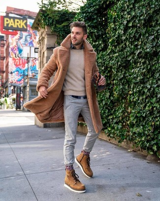 How to wear: tan fur coat, beige cable sweater, navy plaid long sleeve shirt, grey chinos