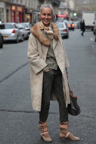 How to wear: beige fur coat, olive cardigan, charcoal boyfriend jeans, brown suede ankle boots