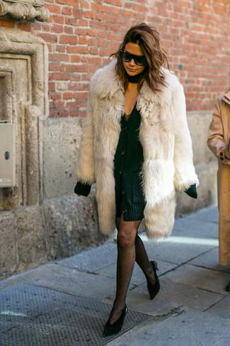 How to wear: beige fur coat, black chunky cardigan, black lace tank dress, black suede pumps