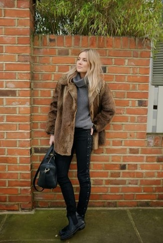 How to wear: brown fur coat, grey cowl-neck sweater, black skinny jeans, black leather chelsea boots