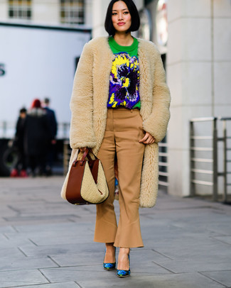 How to wear: beige fur coat, green print crew-neck sweater, tan flare pants, blue floral leather pumps