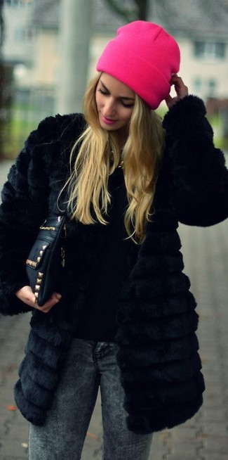 Reversible Hooded Faux Fur Coat