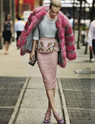 How to wear: hot pink fur coat, grey embellished crew-neck sweater, pink lace pencil skirt, violet suede heeled sandals