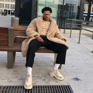 500+ Winter Outfits For Men: Why not consider pairing a beige fur coat with black chinos? These pieces are super practical and look awesome when teamed together. Feeling transgressive today? Mix things up a bit by wearing a pair of beige athletic shoes. Planning a knockout ensemble can be a bit difficult at times on its own. Enter subzero temperatures into the equation, and the whole thing becomes even more difficult. No worries, this here is your winter outfit inspiration.