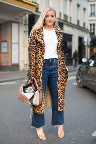How to wear: tan leopard fur coat, white crew-neck t-shirt, blue denim culottes, gold leather heeled sandals