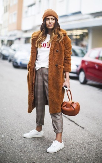 How to wear: tobacco fur coat, white and red print crew-neck t-shirt, grey plaid dress pants, white leather low top sneakers