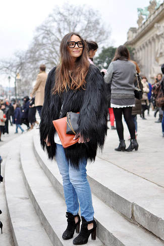 Faux Fur Coat With Scarf