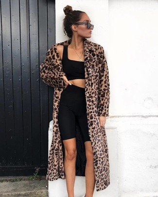 How to wear: brown leopard fur coat, black cropped top, black bike shorts, black sunglasses