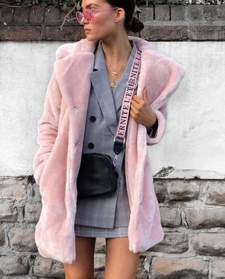 How to wear: pink fur coat, grey plaid double breasted blazer, grey plaid mini skirt, black leather crossbody bag