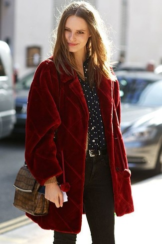 How to wear: red fur coat, black and white polka dot dress shirt, black skinny jeans, brown snake leather crossbody bag