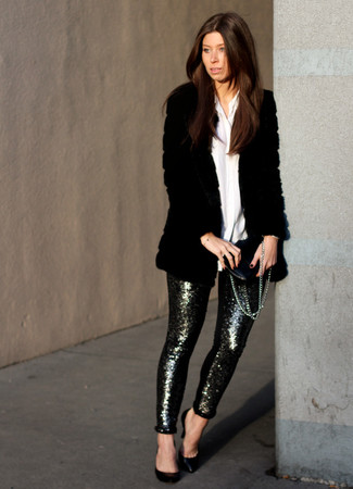 Silver Sequin Skinny Pants Outfits: Consider pairing a black fur coat with silver sequin skinny pants to put together a dressy, but not too dressy ensemble. We're loving how this whole getup comes together thanks to black leather pumps.