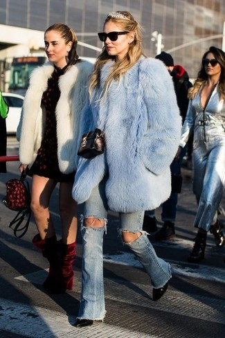 14d15fd93067 How to wear: light blue fur coat, light blue ripped flare jeans, black
