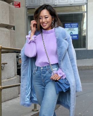 How to wear: light blue fur coat, light violet long sleeve blouse, light blue boyfriend jeans, blue denim crossbody bag