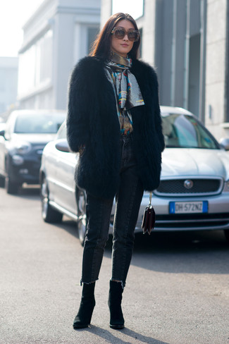 How to wear: black fur coat, silver long sleeve blouse, black jeans, black suede ankle boots
