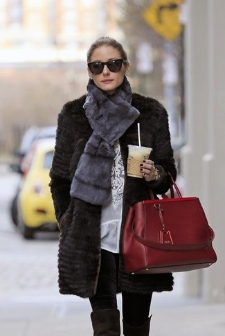 Olivia Palermo wearing Black Fur Coat, White Lace Long Sleeve Blouse, Black Leggings, Black Suede Over The Knee Boots