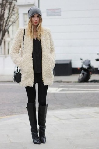 How to wear: beige fur coat, black long sleeve blouse, black leather leggings, black leggings