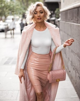 How to wear: pink fur coat, white long sleeve t-shirt, pink leather pencil skirt, pink quilted leather crossbody bag