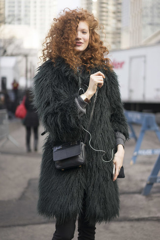Marry a hunter green fur coat with a brown leather watch and you'll look stunning anywhere anytime. This outfit can easily become your best asset when braving extreme weather.