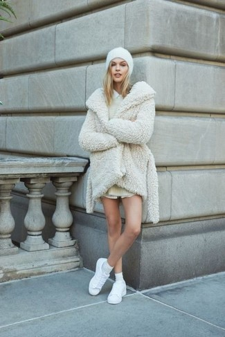 How to wear: white fur coat, beige sweater dress, white dress shirt, white leather low top sneakers