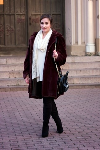 How to wear: burgundy fur coat, white sweater dress, black suede over the knee boots, black leather satchel bag