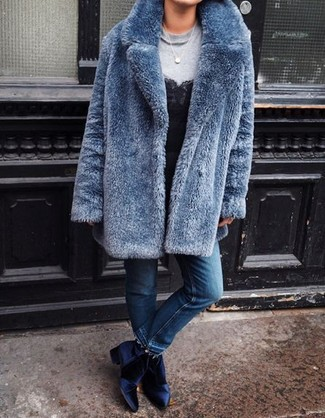 How to wear: blue fur coat, grey sweatshirt, black lace tank, blue jeans