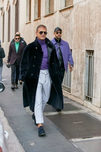 Fur Coat Outfits For Men: A fur coat and white chinos are the kind of casual must-haves that you can style a hundred of ways. Complement this outfit with a pair of navy suede derby shoes to immediately boost the style factor of any look.