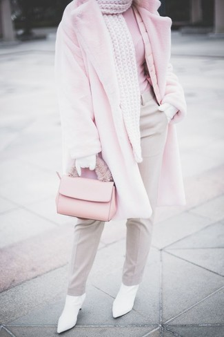 How to wear: pink fur coat, pink turtleneck, grey dress pants, white leather ankle boots