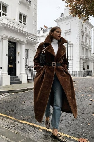 How to wear: dark brown fur coat, white turtleneck, blue jeans, tan leopard suede loafers