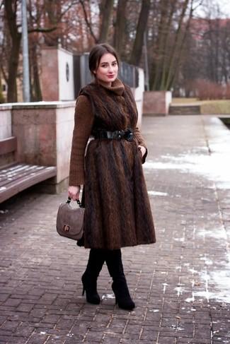 How to wear: dark brown fur coat, brown knit turtleneck, black suede over the knee boots, grey leather satchel bag